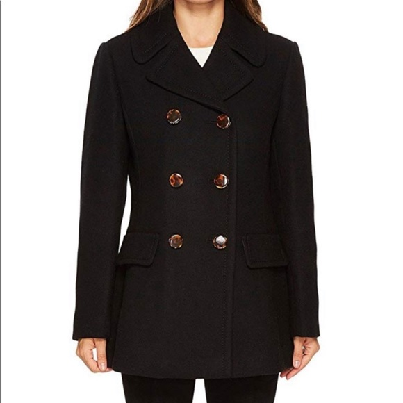 Kate Spade bow-back wool peacoat black size small